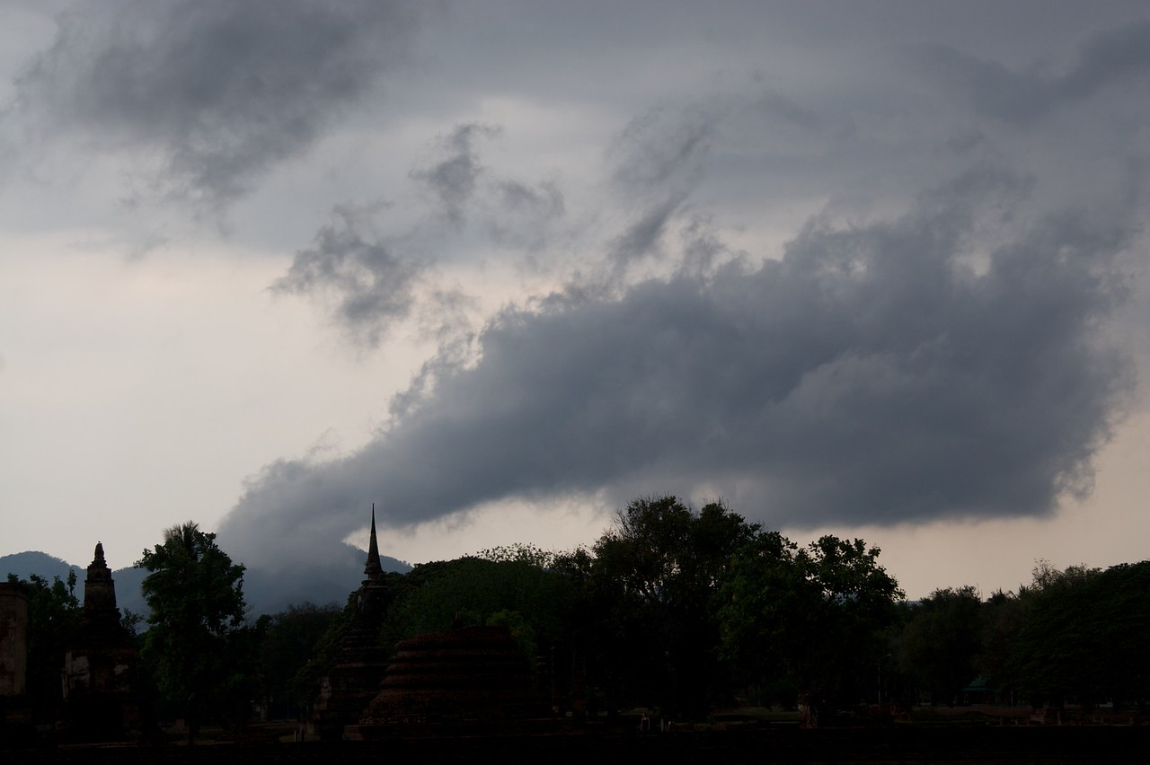 Clouds • The rain clouds passing over Sukhothai Historical Park.