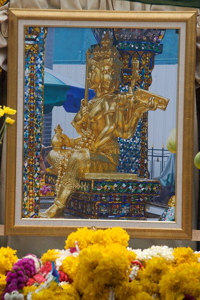 Brahma Sahampati • The four-faced statue of Brahma Sahampati which is the centrepiece of the Erawan Shrine in Bangkok.