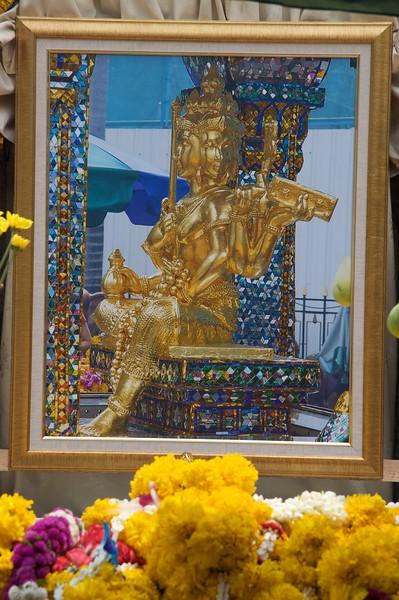 Brahma Sahampati • The four-faced statue of Brahma Sahampati which is the centrepiece of the Erawan Shrine in Bangkok.