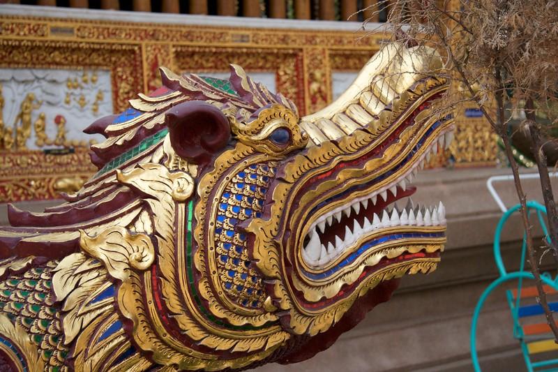 Dragon • A dragon gargoyle at Wat Chaimongkol in Chiang Mai.