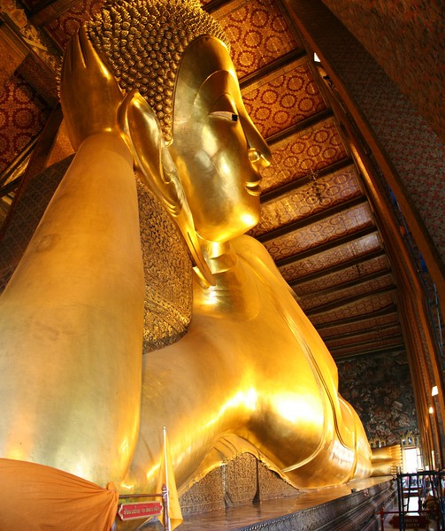 The golden Buddha • The enormous golden statue of the Buddha at Wat Po (Temple of the Golden Buddha) in Bangkok.