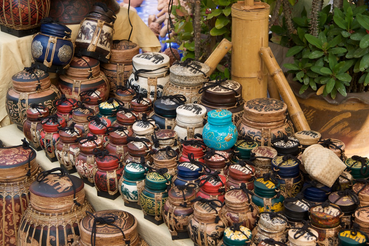 Pots • Pots on sale at a Sunday market in Chiang Mai.