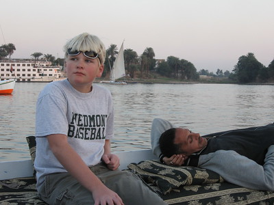 Rory and Khaled on a Felucca at sunset - Amy Garawitz