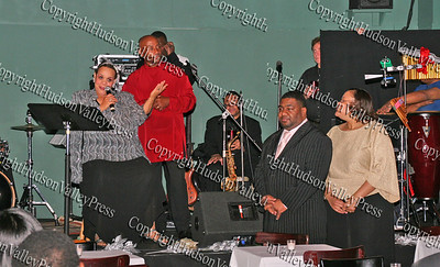 Consuelo Hill thanks the Caldwells during her concert performance at the It's All Good Restaurant in Newburgh, NY