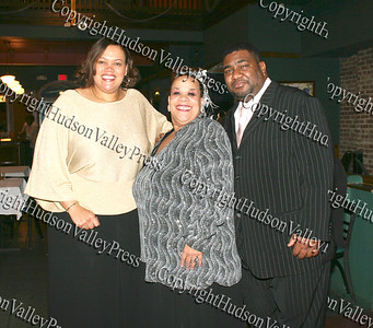 Pam Caldwell, Consuelo Hill and Ezra Caldwell at the It's All Good Restaurant in Newburgh, NY