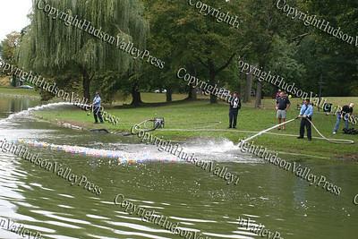 Firemen help Ducks across pond