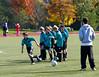 Practicing goal kicks.
