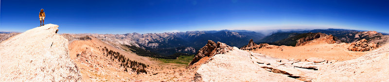 "Here is a full 360 degree panorama from just below Alta Peak (elevation 11,200 ft.) That is Vin perched on that jutting outcrop (the actual Alta Peak, complete with log book - a log book I did not sign...) To see this ""up close"", click on the ""O"" image size below, and scroll across. There is a larger (half-full size) version at the end of this gallery."