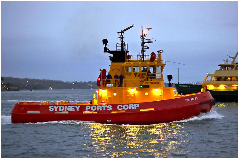 "Sydney Harbour, Thursday February 23rd 2006. <br /> <br /> Sydney Ports emergency response tug ""Ted Noffs"" is used for fire-fighting and vessel assistance. <br /> <br /> EXIF DATA <br /> Canon 1D Mk II. EF 50mm f1.4 1/80s f/1.4 ISO 1000."