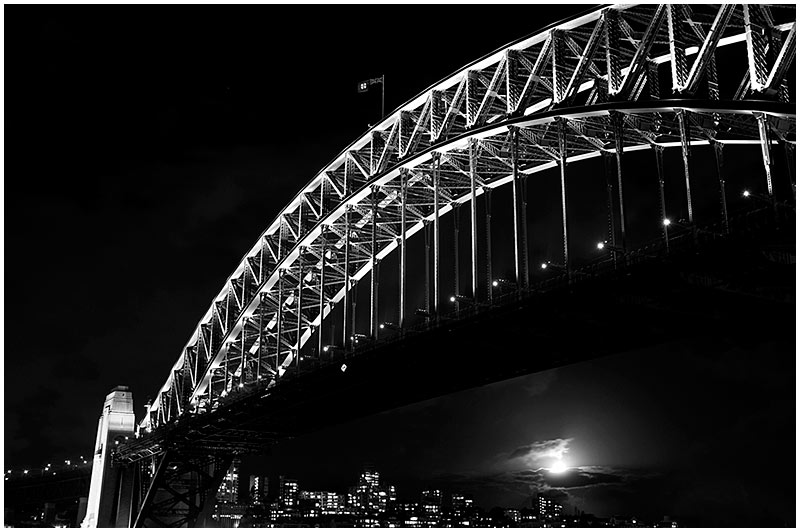 Sydney Harbour Bridge, Tuesday February 7th 2006. <br /> <br /> EXIF DATA <br /> Canon 1D Mk II. EF 17-35mm f/2.8L@35mm 4s f/5 ISO 200.