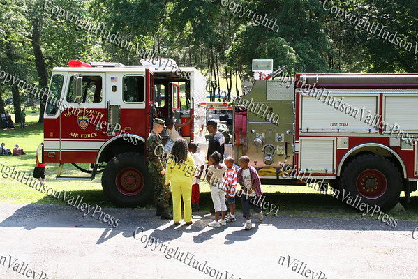 Kids tour a City of Newburgh fire truck during Family Day.