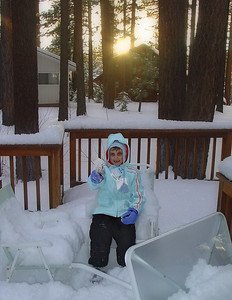 Elena with her first serious snow experience (Lake Tahoe).