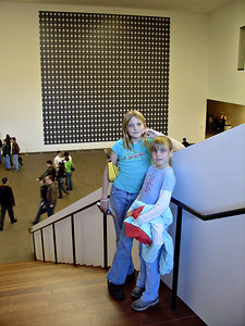 Emily and Elena at the new DeYoung Museum (and yes, for you Materials Science fans, that is an HRTEM image... I could not pass it up.)