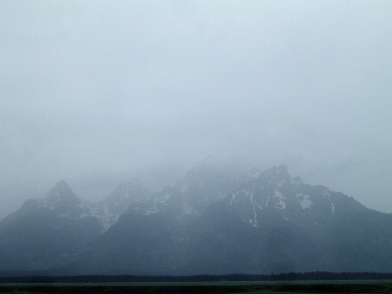We made the hike to the base in good time and moved north out of Wyoming as a rainstorm moved in.  This is our last sight of the Grand Teton, just hours after we were on its summit.