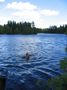 Swimming back on Polly Lake on night 3.