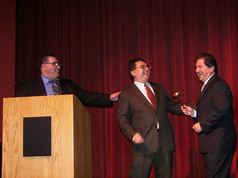 The gavel is passed...From -Officio Luis Spinola to our new Board Chairman Chris Escobedo