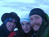 Richard Harrop, Ayslan Havemeister, and myself, huddling against the wind at the top of the pass.