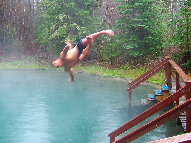 Kelsey takes a dive into the deep upper pool at Liard.  We had the whole pool to ourselves.
