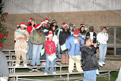 Pastor Manny with Youth Choir at the Unity Tree Lighting