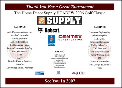 Home Depot Supply 2006 Golf Classic - September 19, 2006