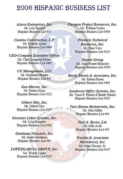 List of the local companies on the National Hispanic 500