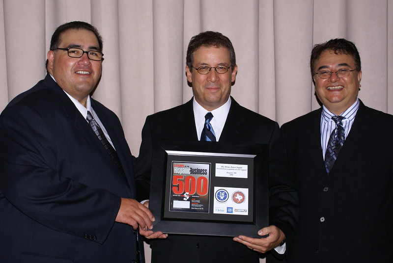 John H. Martinez-D. HCADFW President, John Suarez, Home Depot Supply and Chris Escobedo, HCADFW Chairman