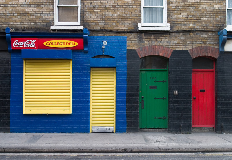 Brightly-colored doorways.