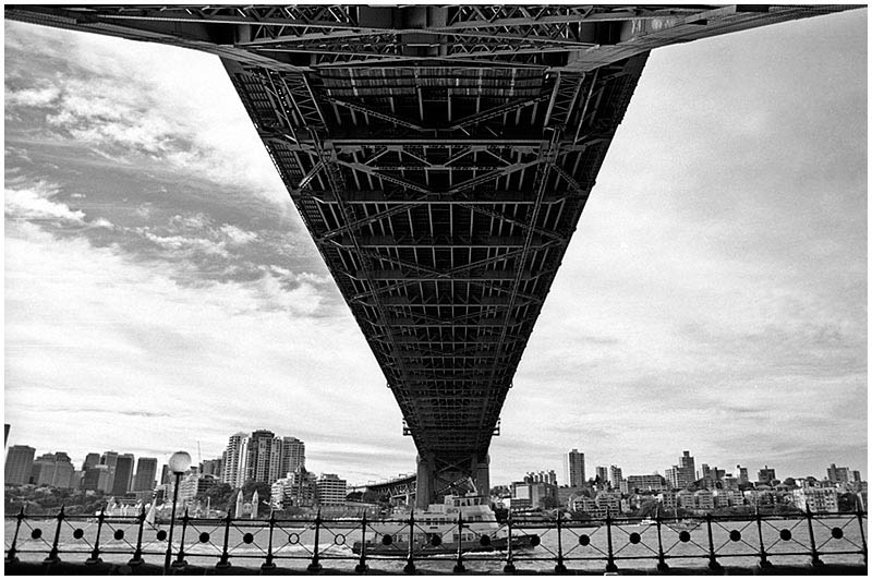 Millers Point, Saturday January 14th 2006. <br /> <br /> Standing directly underneath the harbour bridge. <br /> <br /> EXIF DATA <br /> Canon 1D Mk II. EF 17-35mm f/2.8L@17mm 1/60s f/13 ISO 400.