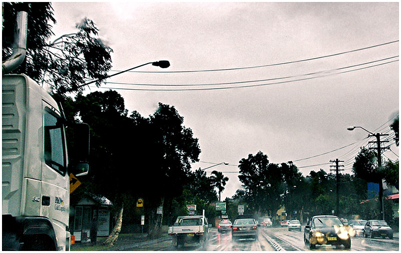 Pacific Highway, Artarmon, Wednesday January 18th 2006. <br /> <br /> A grey and wet day in the city. <br /> <br /> EXIF DATA <br /> Canon 1D Mk II. EF 17-35mm f/2.8L@28mm 1/60s f/10 ISO 600.