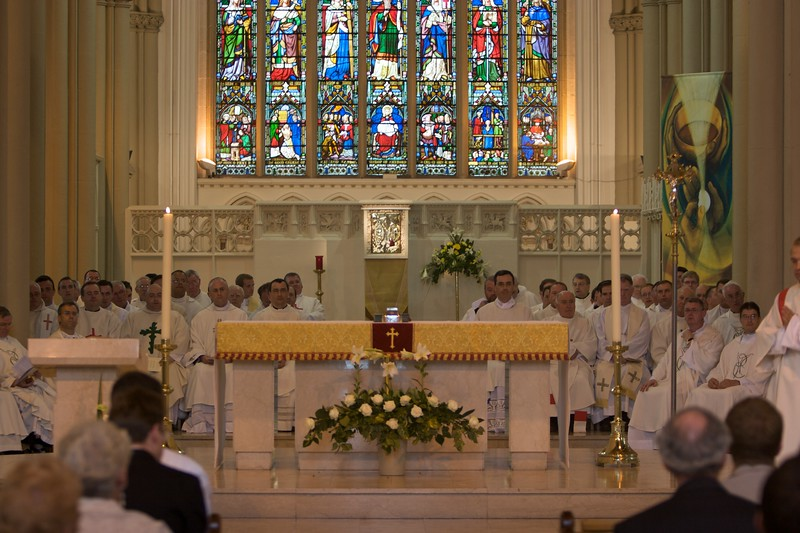 Priests • The concelebrating priests at the Ordination numbered more than sixty: they all fitted on to the sanctuary in Salford Cathedral.