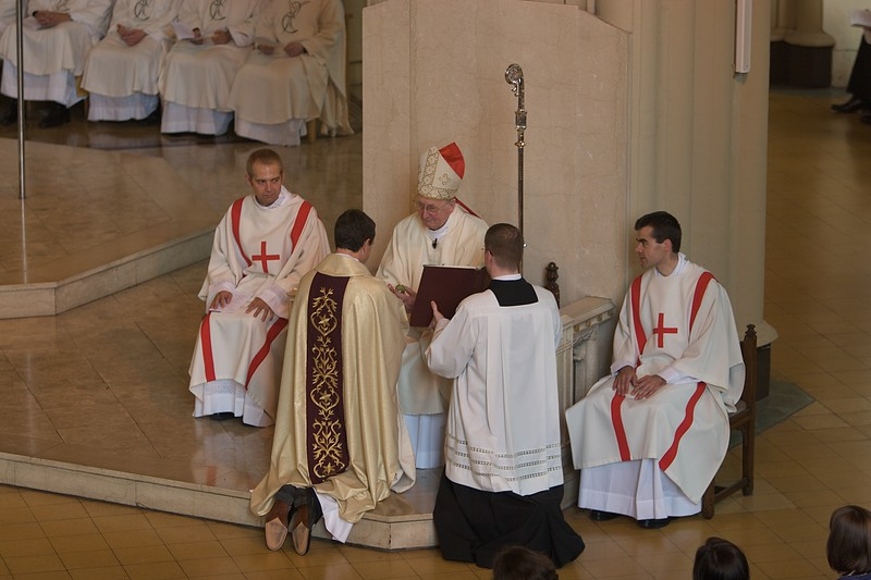 Anointing of Hands • The Bishop anoints the new priest's palms with the Oil of Chrism.