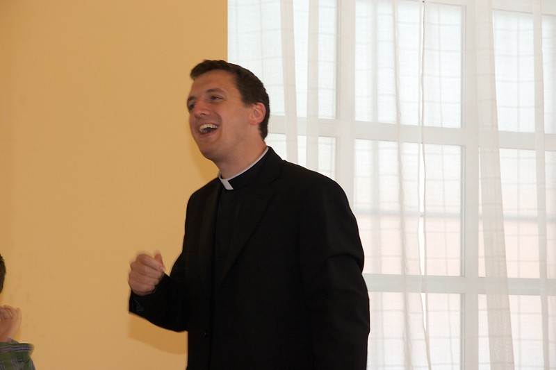 Speaking • John gave a speech—one of several over the course of the weekend—at the buffet lunch after his first Mass at Rusholme. At least he thought what he was saying was funny.