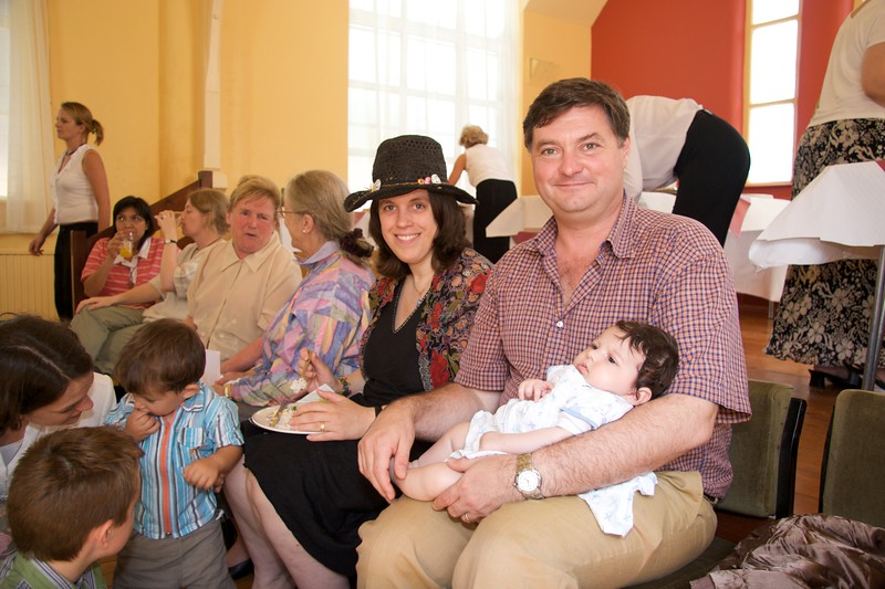Helen, Luke and Selsabeel • Helen, my cousin Luke Playoust and Selsabeel at the buffet lunch after John's first Mass at Rusholme the day after his Ordination.
