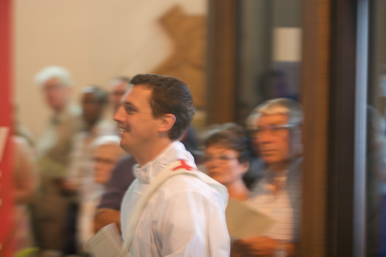 John • John in procession at the beginning of his Ordination Mass: he came just behind the servers, and before the sixty-something priests who concelebrated with the Bishop of Salford.