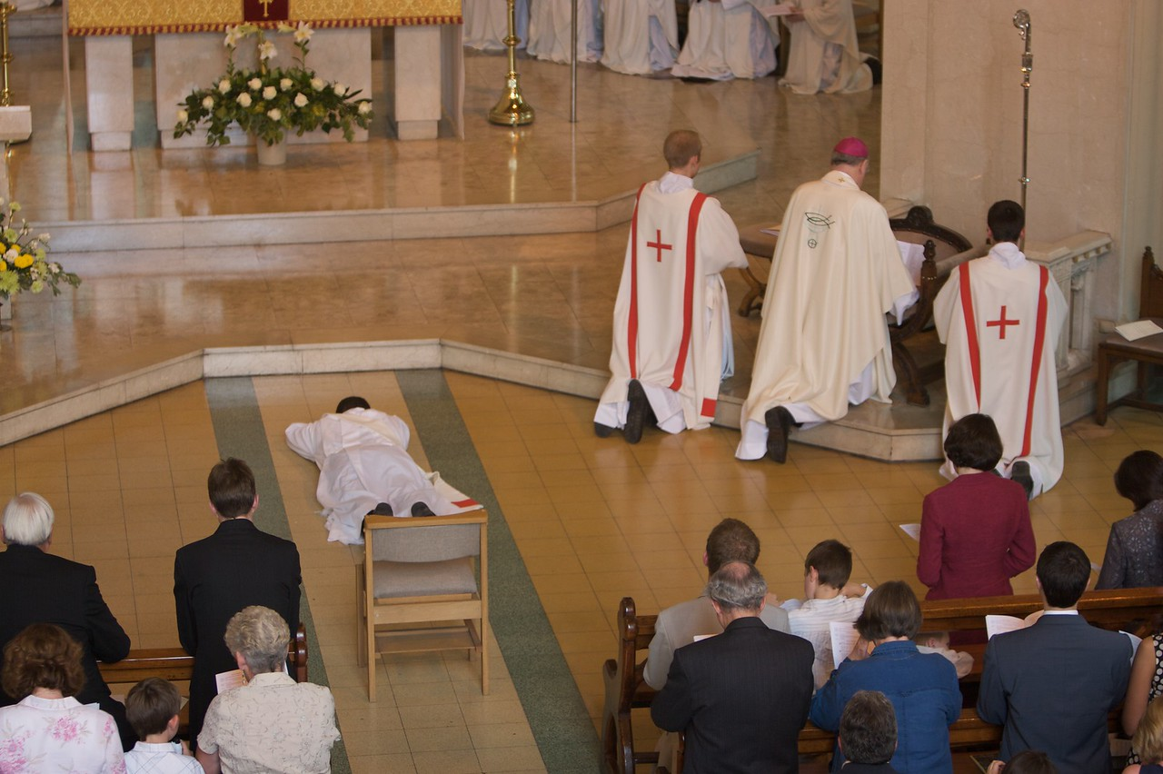 The Litany of the Saints • During the Litany of the Saints, all present pray for the intercession of the Saints to assist the man about to be ordained in his presbyteral work: the candidate prostrates himself, while everyone else kneels.