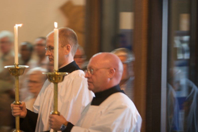 Front of the procession • The front of the procession to begin John's Ordination Mass.