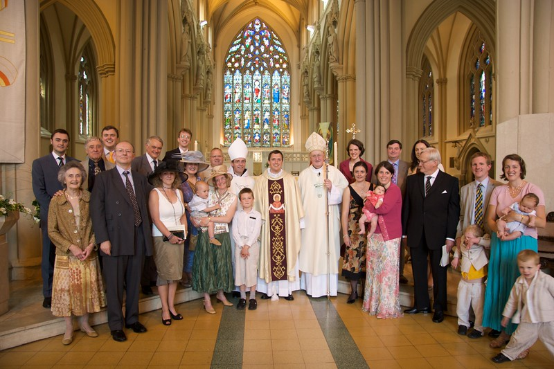 Family • All of our family present at the Ordination—including an English cousin, and cousins and an uncle from Australia—gathered together with the Bishop and the Abbot of Ampleforth.