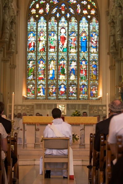 The homily • According to the rubric, the homily at an Ordination is addressed specifically to the candidate for Ordination: here John listens to the Bishop.