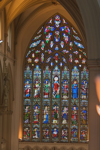 Stained-glass window • The large stained-glass window at the back of Salford cathedral.