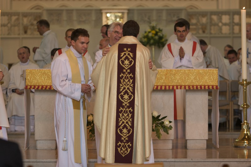 The Kiss of Peace • At the end of the Ordination Rite, the new priest exchanges a Kiss of Peace with the Bishop and then in turn with each of the priests present. Here John is exchanging Peace with our Parish Priest from Witney, Fr Pat.