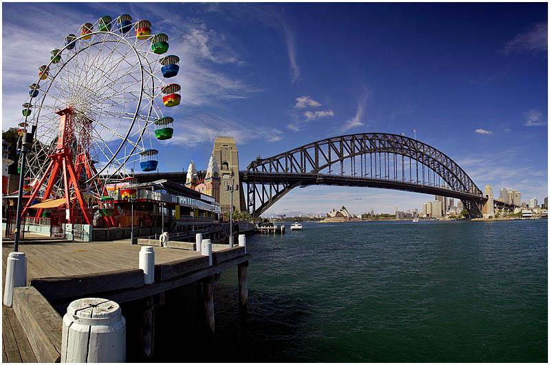 Sydney Harbour, Saturday July 1st 2006. <br /> <br /> Luna Park. <br />  <br /> <br /> EXIF DATA <br /> Canon 1D Mk II. EF 17-35 f/2.8L@17mm 1/160 f/10 ISO 200.