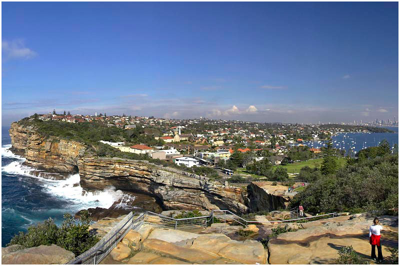 "The Gap, Friday July 28th 2006.  View of Sydney looking south from The Gap, a spectacular ocean cliff near the entrance to Sydney Harbour. It is famous not so much for its natural scenic beauty, but for more bizarre reasons: a reported 20-30 people suicide each year by leaping from the cliff edge on to the rocks below.  This is part of a large panorama. To view full panorama please click <a href=""http://sydneywebcam.smugmug.com/photos/popup.mg?ImageID=84466625&Size=Original&popUp=1"" target=""_blank""><strong><em>here</em></strong>.</a>   EXIF DATA Canon 1D Mk II. EF 17-35 f/2.8L@20mm 1/125 f/16 ISO 250."