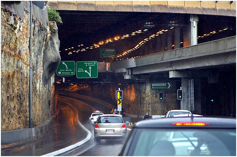 Sydney, Tuesday July 18th 2006. <br /> <br /> A cold, wet winter's day in the city. This is one of the approaches to the Sydney Harbour Tunnel. <br /> <br /> <br /> EXIF DATA <br /> Canon 1D Mk II. EF 17-35 f/2.8L@35mm 1/200 f/2.8 ISO 200.