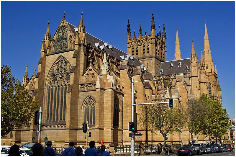 Sydney, College Street, Thursday July 6th 2006. <br /> <br /> St. Mary's Cathedral <br />  <br /> <br /> EXIF DATA <br /> Canon 1D Mk II. EF 17-35 f/2.8L@17mm 1/250 f/14 ISO 200.