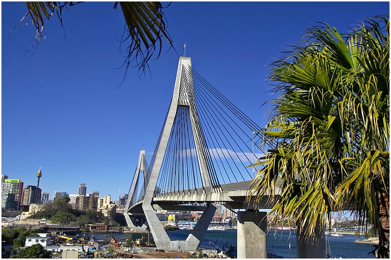 Rozelle, Monday July 31st 2006.. <br /> <br /> Anzac Bridge. <br /> <br /> <br /> EXIF DATA <br /> Canon 1D Mk II. EF 17-35 f/2.8L@28mm 1/60 f/14 ISO 200.