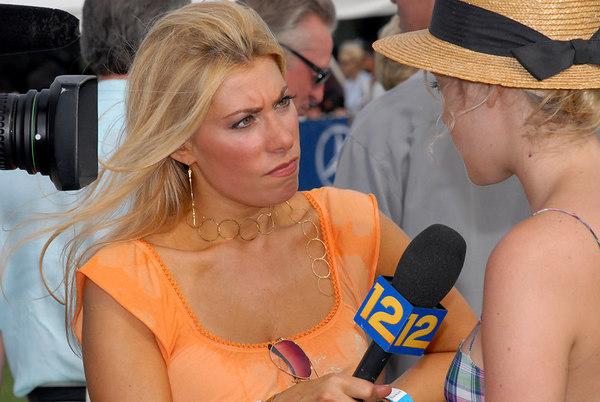 Gina Glickman at work interviewing Chloe Sevigny