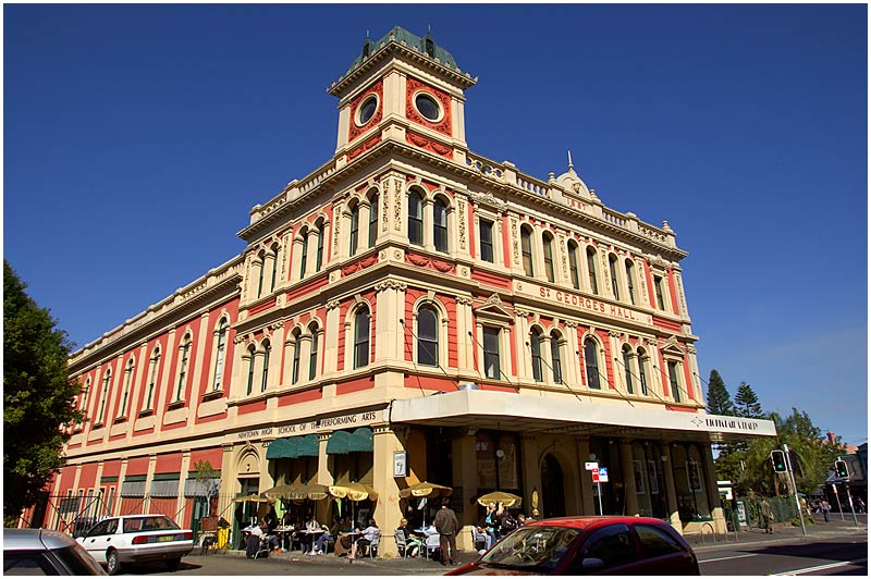 King Street, Newtown, Thursday June 15th 2006. <br /> <br /> St. George's Hall, built in 1887, is home to the Newtown High School of Performing Arts. <br /> <br /> <br /> EXIF DATA <br /> Canon 1D Mk II. EF 17-35 f/2.8L@17mm 1/160s f/16 ISO 200.