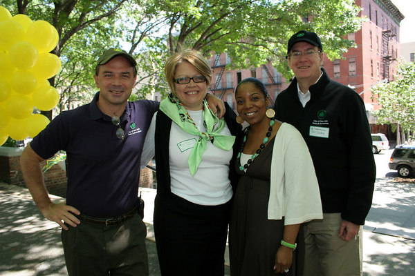 Commissioner Adrian Benepe, NYJL President Cynthia Cathcart, Sonya Pankey and William T. Castro