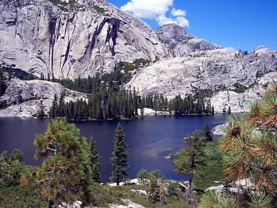 Edith Lake with waterfall across the way.