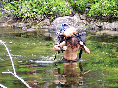 """The canyon is low, about 5-6,000 ft. and a heat wave was in progress. If we weren't fording to get to the other side for easier going, we were sitting in the creek to cool off. I'd drop my pack, toss my boots, and walk in fully clothed.  It was a case of hike, soak, repeat. It brought new meaning to """"clothing optional."""""""